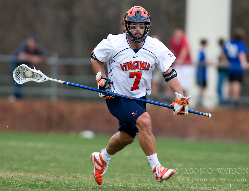 Virginia Cavaliers D Chad Gaudet (7) in action against Cornell.  The #1 ranked Virginia Cavaliers defeated the #4 ranked Cornell Big Red 14-10 at Klockner Stadium on the Grounds of the University of Virginia in Charlottesville, VA on March 8, 2009.