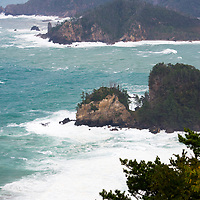 View of the Shirashima Coast, the northernmost point of Dogo, the largest island of the Oki Islands, Shimane Prefecture, Japan. The Oki Islands is part of the Daisen-Oki National Park and is a UNESCO Global Geopark.