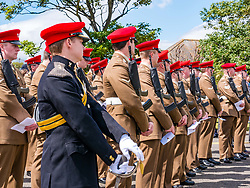 Pictured: Yeomanry receive Freedom of East Lothian, Dunbar, East Lothian, Scotland, United Kingdom, 06 July 2019. The historic Lothians and Border regiment is granted Freedom of East Lothian by Councillor Jim Goodfellow, East Lothian Council's Armed Forces Champion, which is accepted by Major S J Vine. The Yeomanry's links with the county date back to 1797.<br /> The regiment marches to Dunbar Parish Church where there is a rededication ceremony at the war memorial.<br /> <br /> <br /> Sally Anderson | EdinburghElitemedia.co.uk