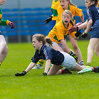 Victoria Burns squeezes the ball in at the post past goalkeeper Madison Harding.<br /> <br /> Division 1 between Barefield NS and Knockanean NS in the Clare Primary Schools Ladies Football Finals at Cusack Park, Ennis, Co. Clare