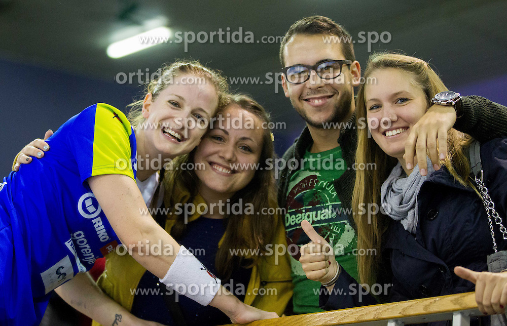 Ana Gros with fans after the handball match between Women National teams of Slovenia and Serbia in 2nd Round of Qualifications for 2014 EHF European Championship on October 27, 2013 in Hala Tivoli, Ljubljana, Slovenia. Slovenia defeated Serbia 31-26. (Photo by Vid Ponikvar / Sportida)