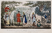 Chiromancy: Jerry takes break from hunt to have hand read told by pretty gipsy while Logick leans on fence. In encampment iron stewpot hangs over fire while, in foreground, turnips are peeled and cut up. To right old gipsy woman gestures to men to hide bi