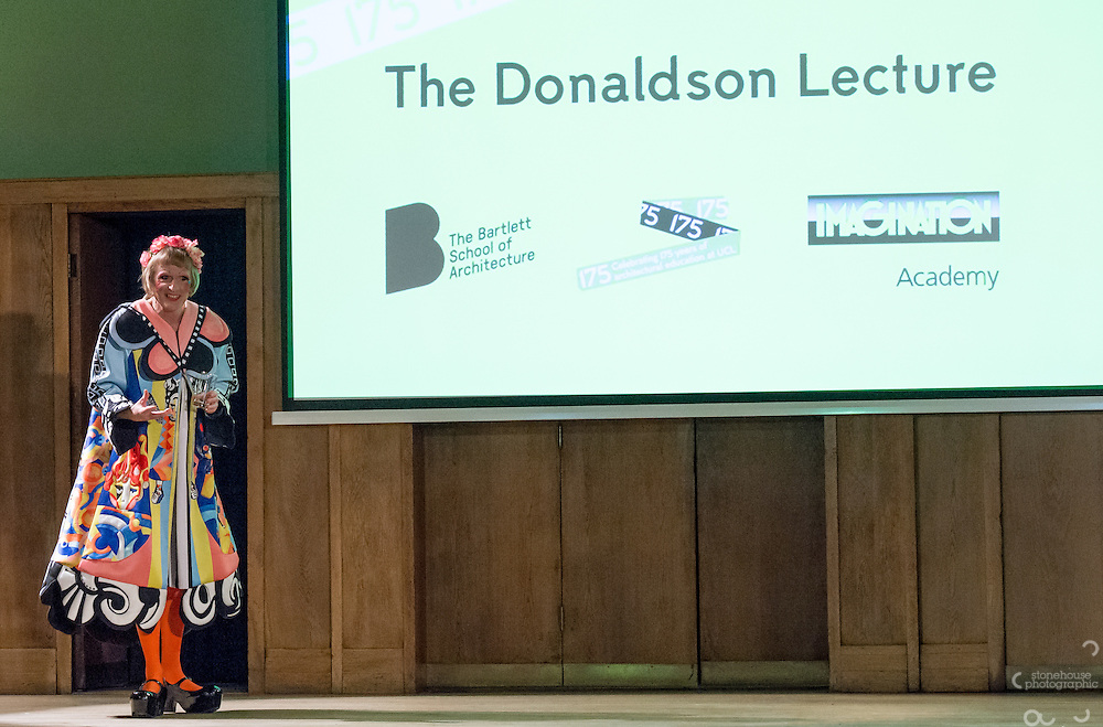 Bob Sheil (Head of Bartlett School) with Artist Grayson Perry as he answers questions after giving the Inaugural Donaldson Lecture in a new series celebrating architecture and education for the Bartlett School of Architecture UCL.<br /> 13th January 2016 at Conway Hall, Red Lion Square, London.