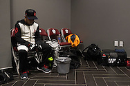 HOUSTON, TX - OCTOBER 3:  Chris Cariaso sits backstage backstage before his fight against Sergio Pettis during UFC 192 at the Toyota Center on October 3, 2015 in Houston, Texas. (Photo by Cooper Neill/Zuffa LLC/Zuffa LLC via Getty Images) *** Local Caption *** Chris Cariaso