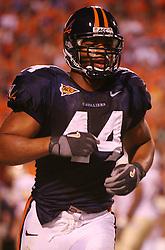 UVA linebacker Kai Parham (44) in action against FSU.  The Virginia Cavaliers defeated the #4 ranked Florida State University Seminoles 26-21 on October 15, 2005 at Scott Stadium in Charlottesville, VA.