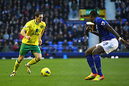 Picture by Paul Chesterton/Focus Images Ltd.  07904 640267.17/12/11.Andrew Crofts of Norwich takes on Magaye Gueye of Everton during the Barclays Premier League match at Goodison Park Stadium, Liverpool.