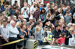 Theresa May meets with Nicola Sturgeon in Edinburgh, Tuesday 7th August 2018<br /> <br /> Pictured: The crowds booed the Prime Minister Theresa May<br /> <br /> Alex Todd | Edinburgh Elite media