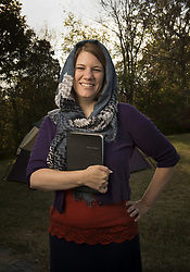 May 4, 2019 - Nashville, Tennessee, U.S. - RACHEL HELD EVANS, an American Christian columnist, blogger and author, died early Saturday morning after a brief illness. In mid-April, Evans was put in a medically-induced coma when doctors found that she was experiencing constant seizures while they were treating her for an infection. PICTURED: November 4, 2014 - Dayton, Tennessee, U.S. - Author RACHEL HELD EVANS outside her home, wearing head scarf and modest clothing. She documented a year-long experiment in which she attempted to follow all of the Bible's instructions for women as literally as possible in her book, 'A Year of Biblical Womanhood'. (Credit Image: © Robin Rayne/ZUMA Wire)