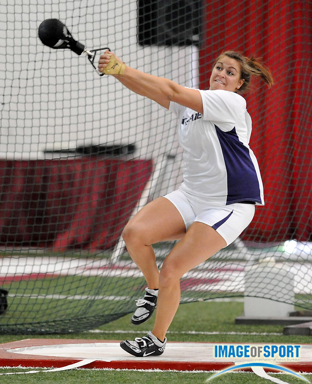 Mar 14, 2008; Fayetteville, AR, USA; Loren Groves of Kansas State was sixth in the women's weight throw at 68-8 (20.93m) in the NCAA indoor track and field championships at the Randal Tyson Center.
