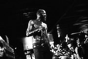 "Experimental hip-hop group Death Grips (Stefan ""MC Ride"" Burnett & Andy ""Flatlander"" Morin) thrashed their way through a sweaty, weed-drenched crowd at The Firebird in St. Louis, Missouri on June 13th, 2013."