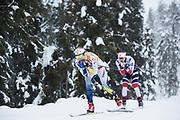 KUUSAMO, FINLAND - 2017-11-26: Stina Nilsson och Ingvild Flugstad Oestberg under damernas l&auml;ngdkid&aring;kning 10km jaktstart under FIS World Cup Ruka Nordic p&aring; Ruka Stadium den 26 November, 2017 i Kuusamo, Finland.<br /> Foto: Nils Petter Nilsson/Ombrello<br /> ***BETALBILD***