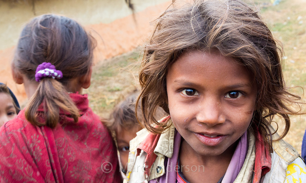 Smiling young children in a small village near Nepalganj, Nepal