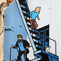 Tintin Comic Mural on Rue de l'Etuve in Brussels, Belgium <br />