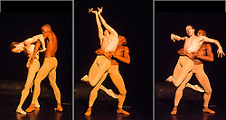 © Licensed to London News Pictures. 22/11/2012. London, UK. Wayne McGregor   Random Dance, Royal Opera House. A mixed programme of thrilling new choreography performed by Random Dance, featuring artists of The Royal Ballet: Edward Watson, Eric Underwood and Paul Kay. Multiple image assembly shows: Eric Underwood & Edward Watson. Photo credit: Tony Nandi/LNP