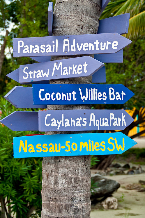 Sign with directions in the Bahamas, Nassau.