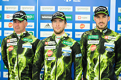Igor Jelen, Marjan Jelenko and Gasper Berlot during official presentation of the outfits of the Slovenian Ski Teams before new season 2015/16, on October 6, 2015 in Kulinarika Jezersek, Sora, Slovenia. Photo by Vid Ponikvar / Sportida