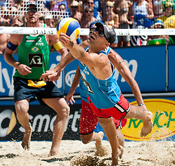 Phil Dalhausser of USA at A1 Beach Volleyball Grand Slam tournament of Swatch FIVB World Tour 2010, semifinal, on August 1, 2010 in Klagenfurt, Austria. (Photo by Matic Klansek Velej / Sportida)