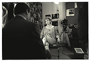 TINA BROWN being interviewed for 60 Minutes in the Vanity Fair office. 350 Madison avenue. New York. 1989