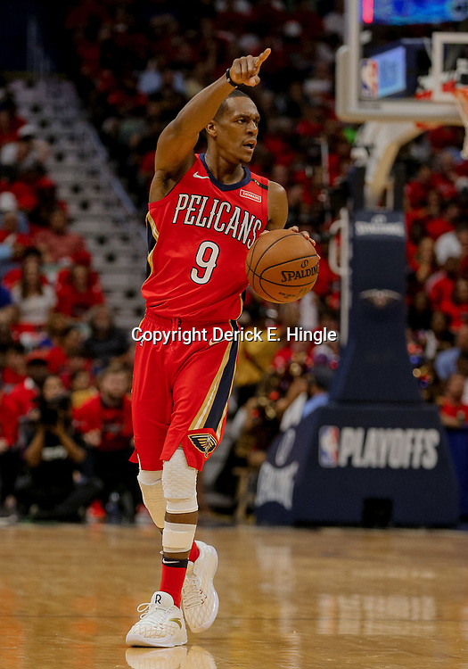May 4, 2018; New Orleans, LA, USA; New Orleans Pelicans guard Rajon Rondo (9) against the Golden State Warriors during the third quarter in game three of the second round of the 2018 NBA Playoffs at the Smoothie King Center. The Pelicans defeated the Warriors 119-100. Mandatory Credit: Derick E. Hingle-USA TODAY Sports