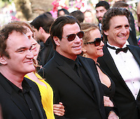 Quentin Tarantino, Uma Thurman, John Travolta and Kelly Preston at Sils Maria gala screening red carpet at the 67th Cannes Film Festival France. Friday 23rd May 2014 in Cannes Film Festival, France.