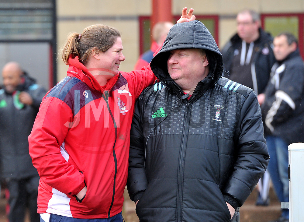 Rival head coaches, Kim Oliver of Bristol Ladies and Gary Street of Harlequins - Mandatory by-line: Paul Knight/JMP - 03/02/2018 - RUGBY - Cleve RFC - Bristol, England - Bristol Ladies v Harlequins Ladies - Tyrrells Premier 15s
