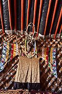 Mongolia. Tsam dance masks. for buddhist dances  Hahorin -    / masques et tenue pour la danse Tsam , danse bouddhiste   Karakorum - Mongolie