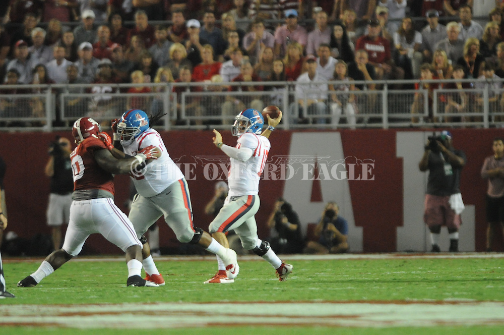 Ole Miss Rebels quarterback Chad Kelly (10) vs. Alabama at Bryant-Denny Stadium in Tuscaloosa, Ala. on Saturday, September 19, 2015. Ole Miss won 43-37.