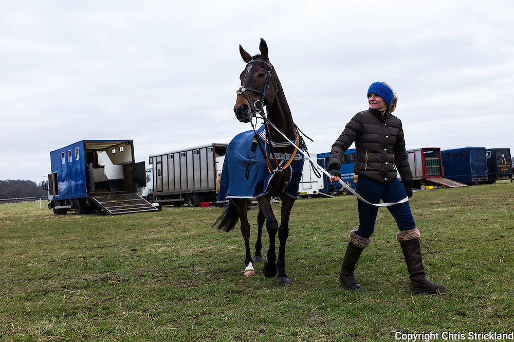 Groom Georgina Shiels and racehorse Oscar Stanley at the Duke of Buccleuch Point to Point 2015.