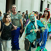 Bp-or-not-BP stage a splash mob art intervention at the British Museum in protest against the continued BP sponsorship of the exhibition 'Sunken Cities' 25th of September 2016.A flock of merfolk and BP pirates roamed the museum as well as a kraken, a giant sea monster.