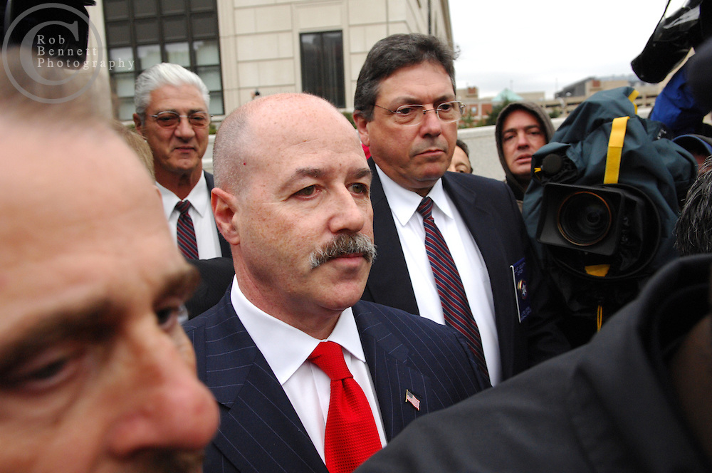 White Plains, NY - Friday, Nov. 9, 2007 - Former New York City police commissioner Bernard Kerik exits White Plains Federal Courthouse after pleading not guilty to charges of fraud, tax evasion and conspiracy...Rob Bennett for The New York Times