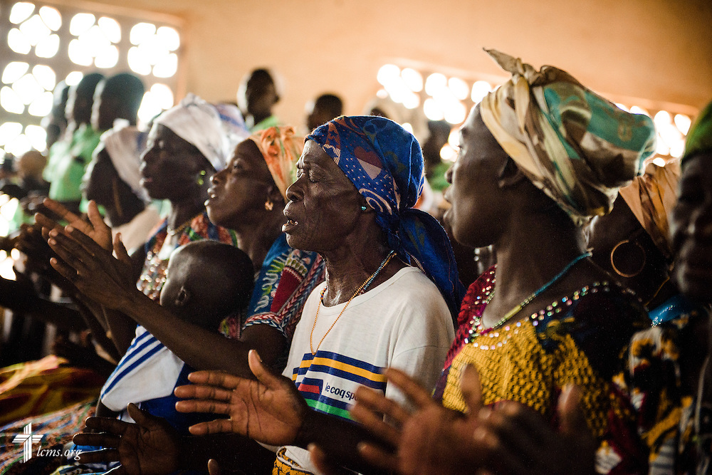 Church members worship at the Lutheran Church of Togo in Mire on Sunday, Feb. 12, 2017, in Mire, Togo. LCMS Communications/Erik M. Lunsford