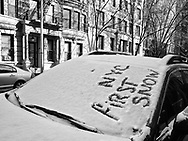 First snow in New York City; East 81st street.