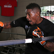 """WINTER HAVEN, FL - MAY 05: Boxer Willie Monroe Jr. trains with Danny Akers at the Winter Haven Boxing Gym on May 5, 2015 in Winter Haven, Florida. Monroe will challenge middleweight world champion Gennady """"GGG"""" Golovkin for the WBA world championship title in Los Angeles on May 16.  (Photo by Alex Menendez/Getty Images) *** Local Caption *** Willie Monroe Jr.; Danny Akers"""