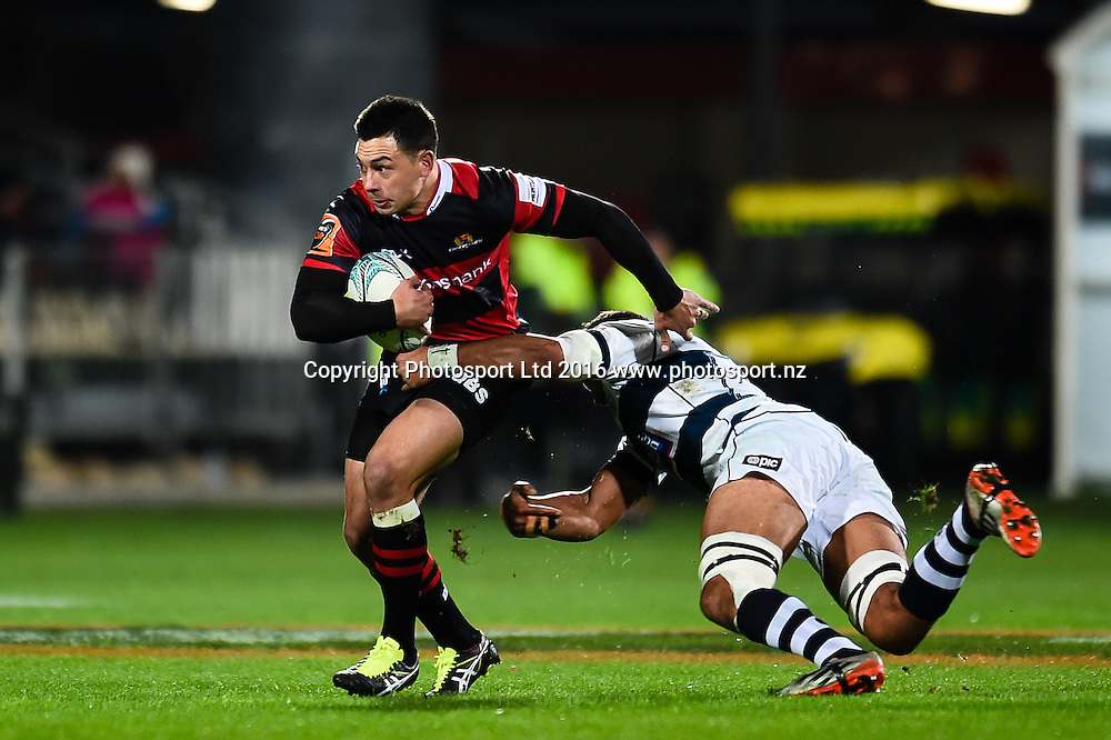 Rob Thompson of Canterbury is tackled by Joe Edwards of Auckland during the Mitre 10 Cup Rugby Match, Canterbury V Auckland, AMI Stadium, Christchurch, New Zealand. 20th August 2016. Copyright Photo: John Davidson / www.photosport.nz