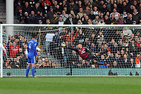 Football - 2018 / 2019 Premier League - Fulham vs. Cardiff City<br /> <br /> Neil Etheridge of Cardiff dives in vain as a shot from Ryan Babel flies in for his second half goal, at Craven Cottage.<br /> <br /> COLORSPORT/ANDREW COWIE