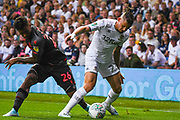 Leeds United midfielder Kalvin Phillips (23) and Stoke City forward Tyrese Campbell (26) in action during the EFL Cup match between Leeds United and Stoke City at Elland Road, Leeds, England on 27 August 2019.