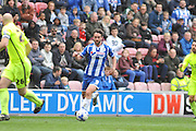 Wigan Striker Will Grigg during the Sky Bet League 1 match between Wigan Athletic and Southend United at the DW Stadium, Wigan, England on 23 April 2016. Photo by John Marfleet.