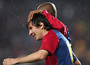Lionel Messi of Barcelona celebrates after scoring with Samuel Eto'o during the UEFA Champions League quarter final first leg match between FC Barcelona and FC Bayern Munich at the Camp Nou stadium on April 8, 2009 in Barcelona, Spain.