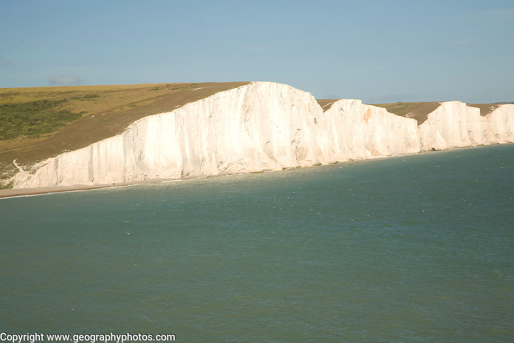 Chalk cliffs of the Seven Sisters from Seaford Head, East Sussex, England