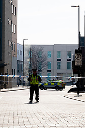 "Police secure the scene in union street Sheffield where the body of a man in his 20s was found in the early hours of Tuesday morning (24th March 2020). Police have identified man and officers are now trying to trace the man's family. The young mans death is currently being treated as ""unexplained"" and the area has been cordoned off. <br />