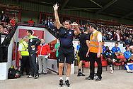 Tony Humes, Manager of Colchester United salutes the away fans before his first match as manager during the Sky Bet League 1 match between Walsall and Colchester United at the Banks's Stadium, Walsall<br /> Picture by Richard Blaxall/Focus Images Ltd +44 7853 364624<br /> 06/09/2014