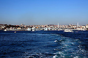 Galata Bridge Istanbul seen from the boat on the Sea of Marmara side