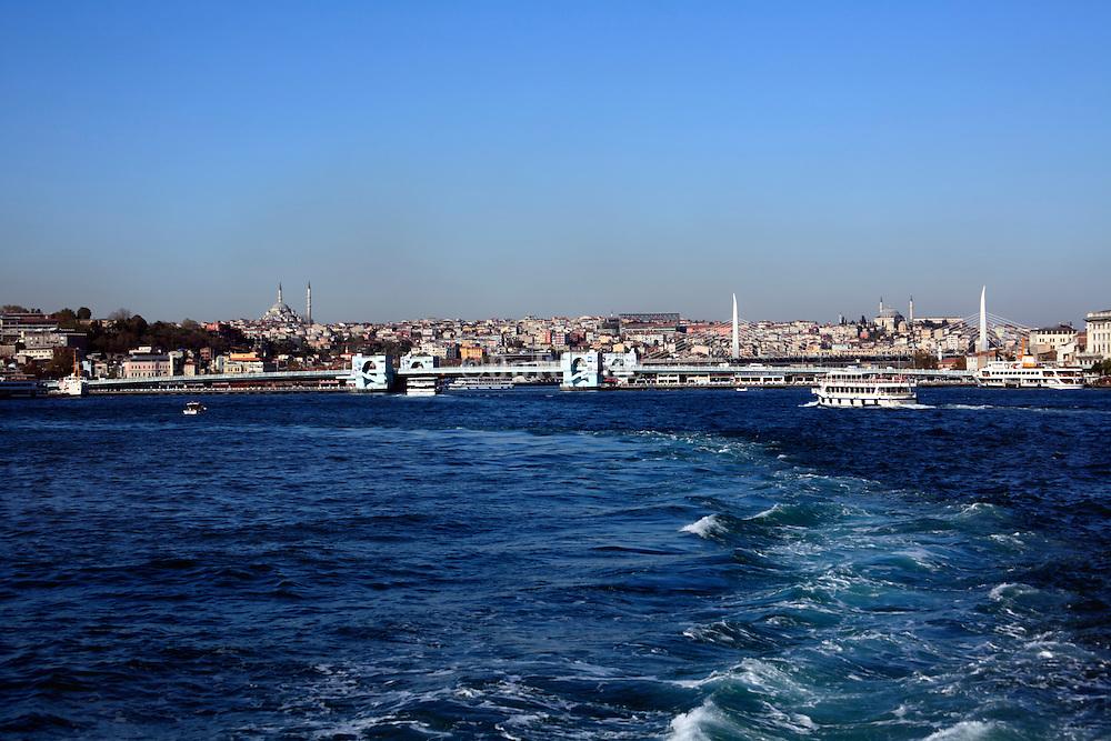 Galata Bridge Istanbul seen from the boat on the Sea of Marmara side
