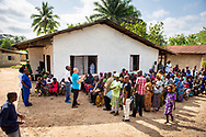 The Rev. Gary Schulte, area director for West and Central Africa, leads a devotion on the first day of the LCMS Mercy Medical Team on Monday, May 7, 2018, in the Yardu village outside Koidu, Sierra Leone, West Africa. LCMS Communications/Erik M. Lunsford