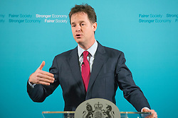 © Licensed to London News Pictures. 15/12/2014. Westminster, UK Deputy Prime Minister and Leader of the Liberal Democrats NICK CLEGG gives his last monthly press conference before the Christmas Break at Admiralty House, Whitehall. Photo credit : Stephen Simpson/LNP