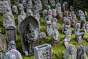 "In Japan, Buddhist statues of Jizo (or respectfully Ojizo-sama) can sometimes be seen wearing tiny children's clothing or red bibs, or with toys, placed by grieving parents to protect their lost ones. Ojizo-sama is one of the most loved of Japanese divinities. His features are commonly made more baby-like to resemble the children he protects. His statues are a common sight along roadsides and graveyards. Traditionally, he is seen as the guardian of children, and in particular, children who died before their parents. Jizo has been worshipped as the guardian of the souls of mizuko, the souls of stillborn, miscarried or aborted fetuses (""water children""). Jizo is a Japanese version of Ksitigarbha (Sanskrit for ""Earth Treasury"", ""Earth Store"", ""Earth Matrix"" or ""Earth Womb""), a bodhisattva revered in East Asian Buddhism. Ksitigarbha is usually depicted as a Buddhist monk with a halo around his shaved head. He carriesa staff to force open the gates of hell and a wish-fulfilling jewel to light up the darkness. Kiyomizu-dera (""Pure Water Temple"") is an independent Buddhist temple in eastern Kyoto, Japan. Otowa-san Kiyomizu-dera temple is part of the Historic Monuments of Ancient Kyoto (Kyoto, Uji and Otsu Cities) UNESCO World Heritage site. Kiyomizu-dera was founded on the site of the Otowa Waterfall in the early Heian period, in 780 by Sakanoue no Tamuramaro. Ordered by Tokugawa Iemitsu, its present buildings were built entirely without nails in 1633."