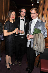 Left to right, DARIA ELLIOTT, GUY ROBERTSON and HENRY CONWAY at the Russian Ballet Icons Gala & Dinner dedicated to Anna Pavlova held at the The London Coliseum 33-35 St.Martin's Lane, London on 4th March 2012.