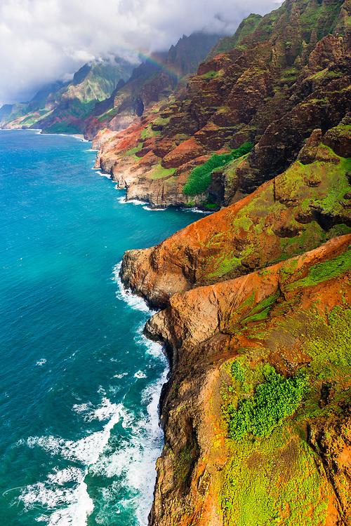 The Na Pali Coast (aerial), Napali Coast Wilderness State Park, Kauai, Hawaii USA