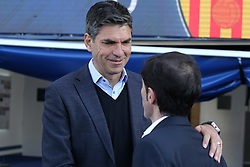 February 24, 2019 - Leganes, Madrid, Spain - Pellegrino of Leganes and Marcelino of Valencia during La Liga Spanish championship, football match between Leganes and Valencia, February 24th, Butarque stadium, in Leganes, Madrid, Spain. (Credit Image: © AFP7 via ZUMA Wire)