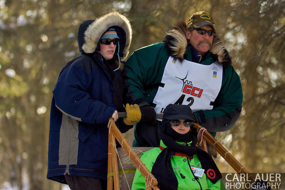 March 7th, 2009:  Anchorage, Alaska - Sonny Lindners of Two Rivers, Alaska makes his way through the woods near the Alaska Native Hospital during the Ceremonial Start of the 2009 Iditarod.